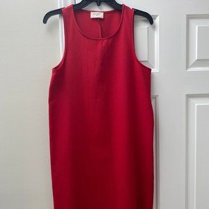 Red Shift Dress with Scallop Bottom